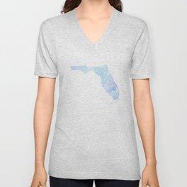 Typographic Florida - blue watercolor Unisex V-Neck