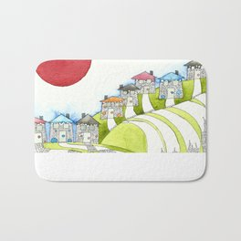 Brightly Coloured Houses Bath Mat