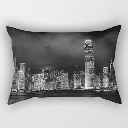 Hong Kong Skyline [Black & White] Rectangular Pillow