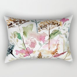 Watercolor Garden Abstract Rectangular Pillow