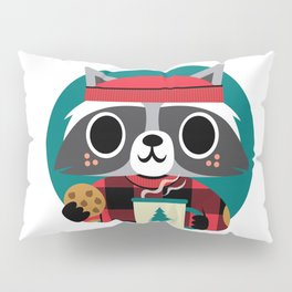 Raccoon in Red Buffalo Plaid Sweater Pillow Sham
