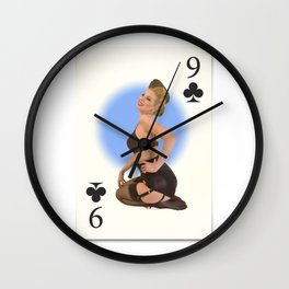 """Nine of Clubs"" - Playful Pinup Girl - Retro Vintage Playing Card Pinup Wall Clock"