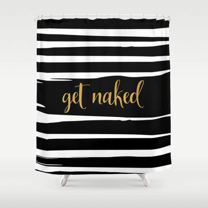 Get Naked Gold Black And White Striped Shower Curtain