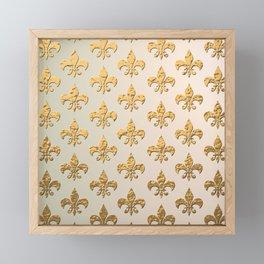 Gold Metallic Fleur De Lis Stencils Framed Mini Art Print