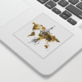 Gold World Map 2 Sticker