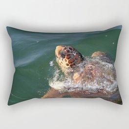 Loggerhead Turtle (Caretta Caretta) Breaking The Sea Surface Rectangular Pillow