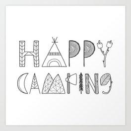 Happy Camping in black Art Print