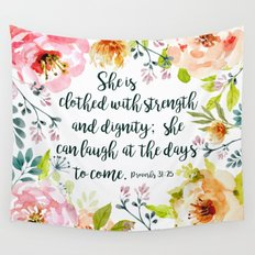 She can laugh at the days to come Wall Tapestry