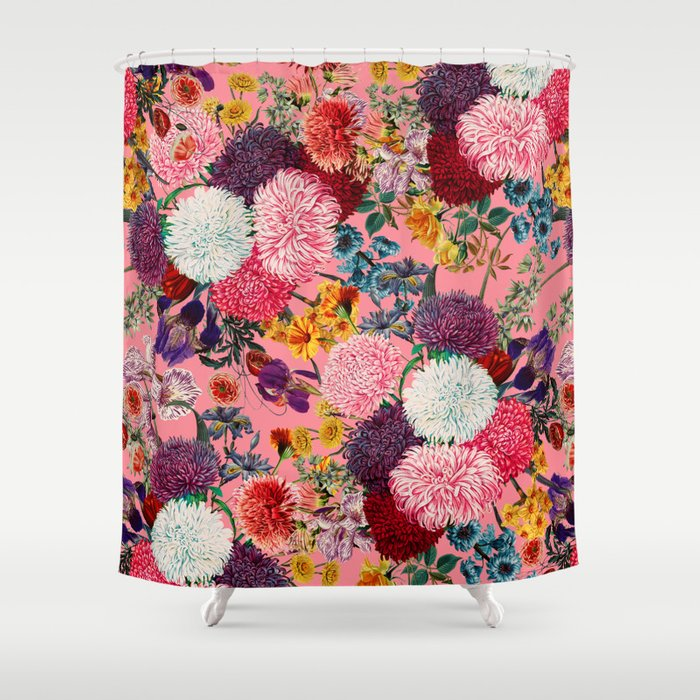 Floral Pink Pattern Shower Curtain