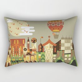 Hot air balloon ride trough the city Rectangular Pillow