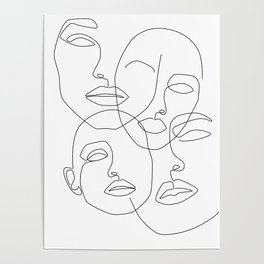 Messy Faces Poster