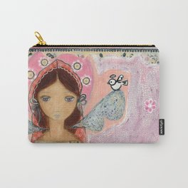 Angel with Little Bird by Flor Larios Carry-All Pouch