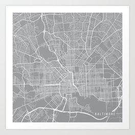 Baltimore Map, Maryland USA - Pewter Art Print