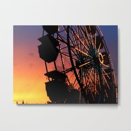 Ferris Wheel at Sunset Metal Print