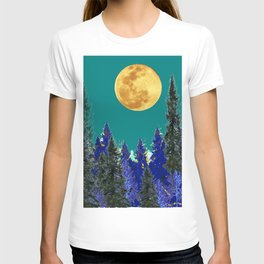 BLUE FOREST TEAL SKY MOON LANDSCAPE ART T-shirt