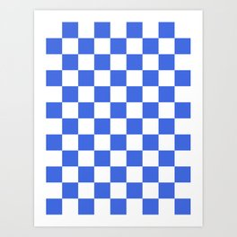 Checkered - White and Royal Blue Art Print