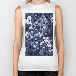 Bohemian Floral Nights in Navy Biker Tank