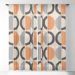 Mid Century Modern Half Circle Pattern 548 Beige Black Gray and Orange Sheer Curtain