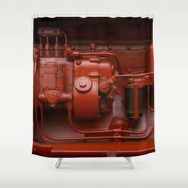 Red Tractor motor Shower Curtain
