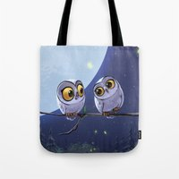 owls Tote Bags featuring Owls by biboun