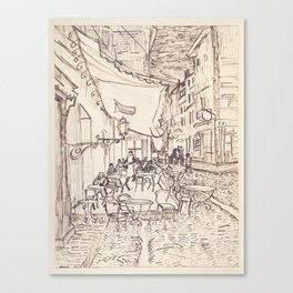 Cafe Terrace at Night (sketch) Canvas Print