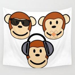 Illustration of Cartoon Three Monkeys - See, Hear, Speak No Evil Wall Tapestry