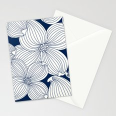 Dogwood Big Linear Floral: Navy Ivory Stationery Cards