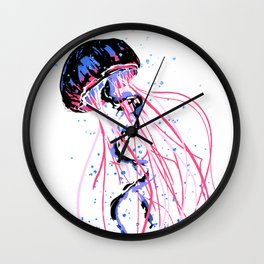 the dance - jellyfish and bubble (pink / purple) Wall Clock