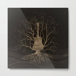 Guitar Music Tree - Gold and Browns Metal Print