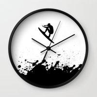 surfer Wall Clocks featuring Surfer by Emir Simsek