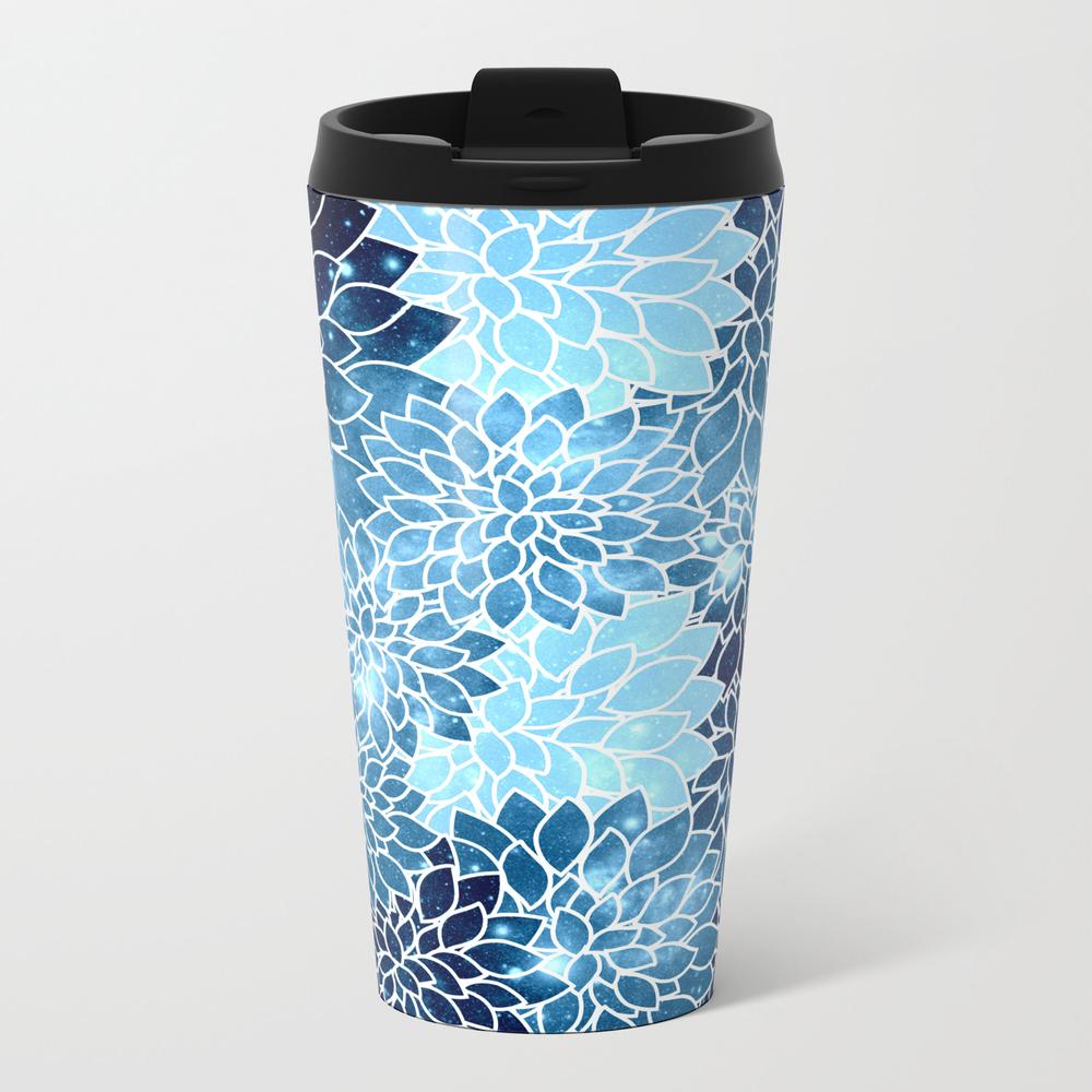 Space Dahlias Blue Ice Travel Mug TRM8426767