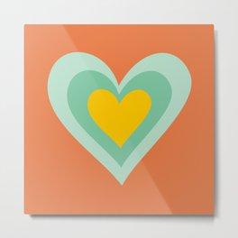 Three hearts on orange Metal Print