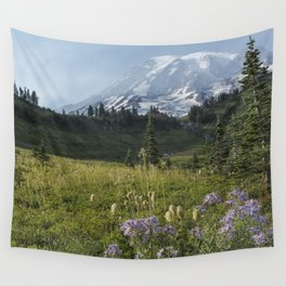 Wildflowers and Mount Rainier Wall Tapestry