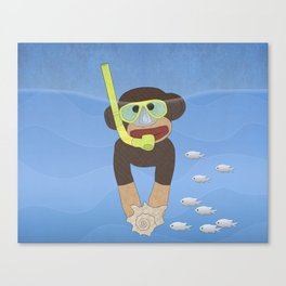 Sock Monkey Snorkeling Canvas Print