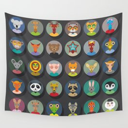 Set of animals faces circle icons set in Trendy Flat Style. zoo Wall Tapestry