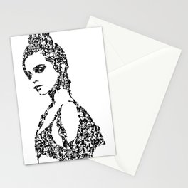 Kanji Calligraphy Art :woman's face #30 Stationery Cards