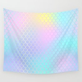 Rainbow Mermaid Abstraction Wall Tapestry