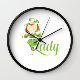 Lucky Little Lady St. Patrick's Day Gift  Wall Clock