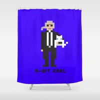 karl Shower Curtains featuring 8 Bit Karl by 8 Bit Icons
