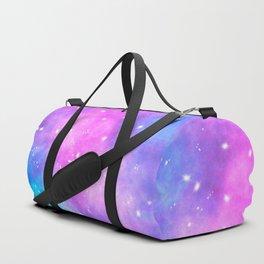 Hand painted pink purple turquoise watercolor nebula space glitter stars Duffle Bag