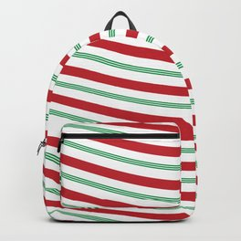 Red White and Green Christmas Candy Cane Pattern Backpack
