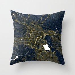 Cochabamba City Map of Bolivia - Gold Art Deco Throw Pillow