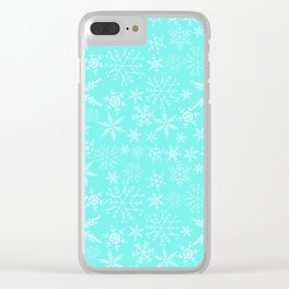 Mint Blue Snowflakes Clear iPhone Case