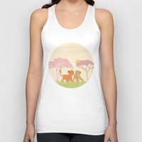 lions Tank Tops featuring two lions..  by studiomarshallarts