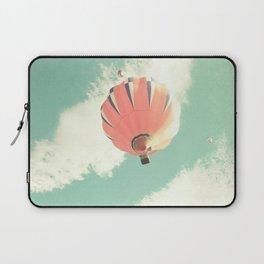 Nursery coral hot air balloon over mint sky Laptop Sleeve
