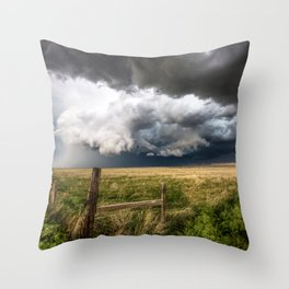 Aquamarine - Storm Over Colorado Plains Throw Pillow