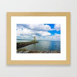 The East Wharf Lighthouse at Lake Hefner, Oklahoma City. Framed Art Print