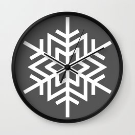 Simple Grey and White Snowflake Wall Clock