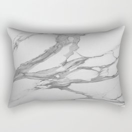 White Marble With Silver-Grey Veins Rectangular Pillow