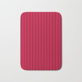 Red with Black Pinstripes Bath Mat